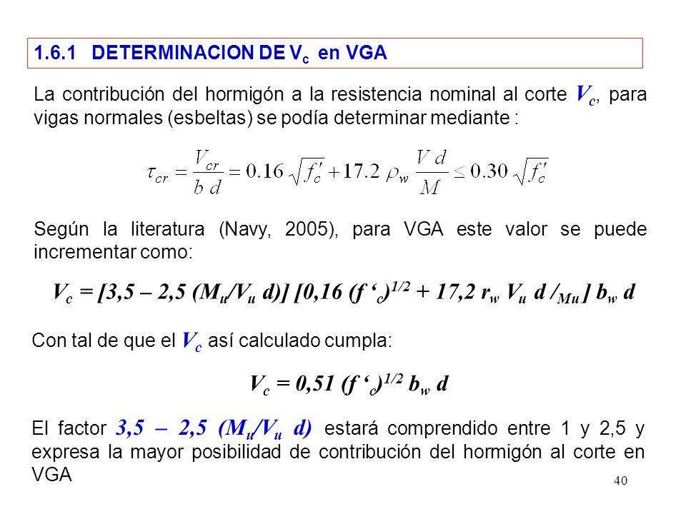Vc = [3,5 – 2,5 (Mu/Vu d)] [0,16 (f 'c)1/2 + 17,2 rw Vu d /Mu ] bw d